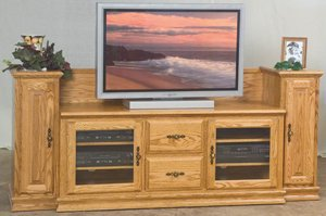 Feature-Full Heritage Plasma TV Stand with Towers