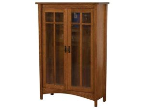 Arts and Crafts Wood Bookcase with Doors