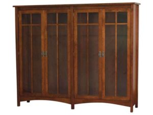 Arts and Crafts Double Wood Bookcase with Doors