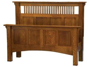 Arts and Crafts Spindle Panel Headboard Bed
