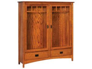 Arts and Crafts Wide 2 Door Bookcase
