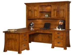 Bridgefort Hardwood Mission Corner Desk and Topper