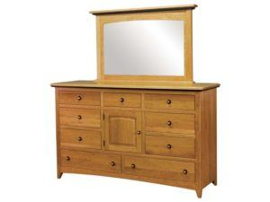 Classic Shaker Nine Drawer, One Door Wood Dresser with Mirror