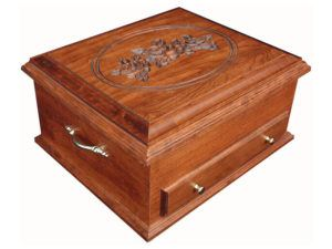 Deluxe Solid-Cherry Jewelry Chest with Rose Engraving