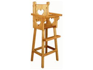 Solid-Wood Doll Highchair with Heart