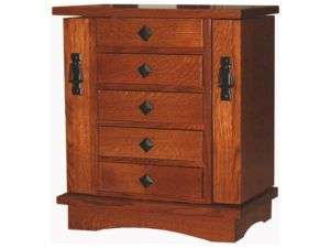 Five Drawer Mission Style Jewelry Chest