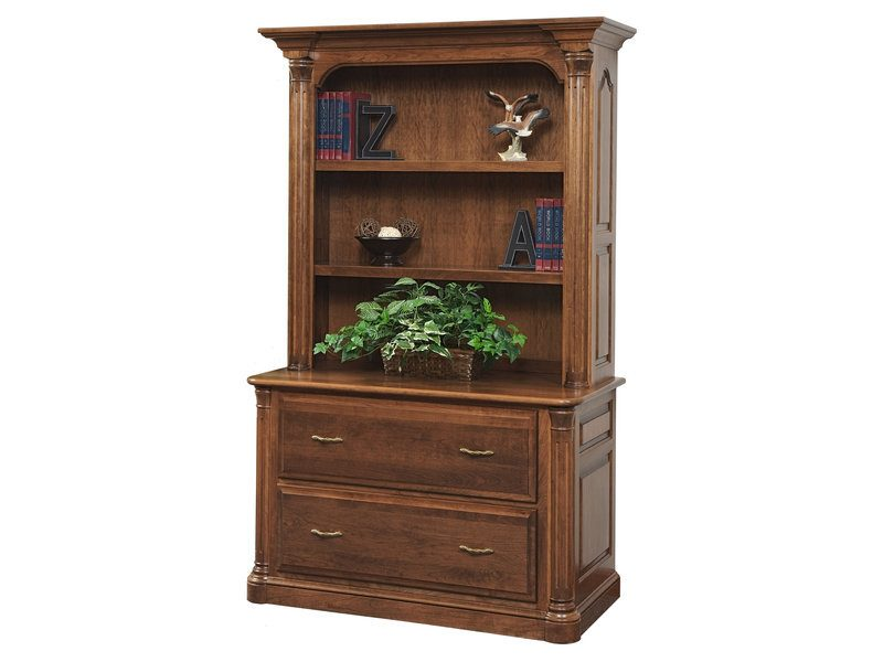 Jefferson Lateral File Cabinet With Bookshelf Amish