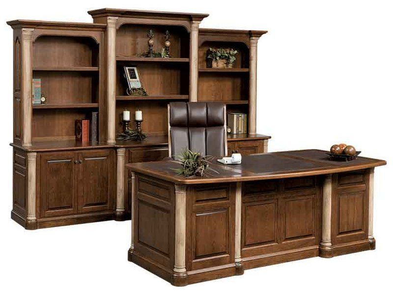 Warm Cherry Executive Desk Home Office Collection: Jefferson Premier Office Collection