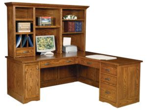 Mission Style Computer Desk with Return and Recessed Panel Back and Sides