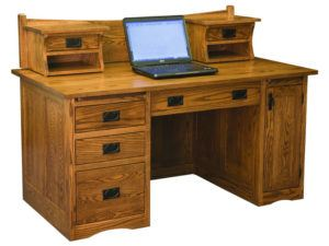 Mission Style Desk with Small Hutch