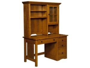 Mission Style Slat Desk with Hutch