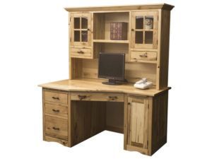 Mission Style Wedge Desk with Hutch