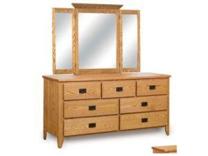 Ridgecrest Mission 7 Drawer Dresser with Tri-Fold Mirror