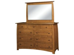 Superior Shaker Nine Drawer Dresser with Mirror