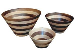 Striped Wooden Bowls: Small, Medium, Large