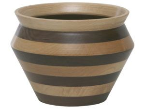 Striped Wooden Vase Bowl