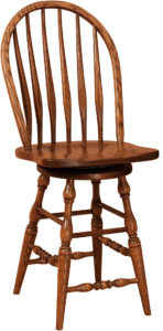 Bent Feather Hardwood Swivel Bar Stool