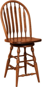 Bent Paddle Hardwood Swivel Bar Stool