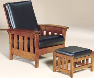 Bow Arm Slat Morris Chair-Ottoman
