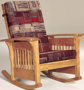 Corbel Bow Arm Slat Rocking Chair