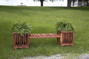 Cedar Double Planter Bench