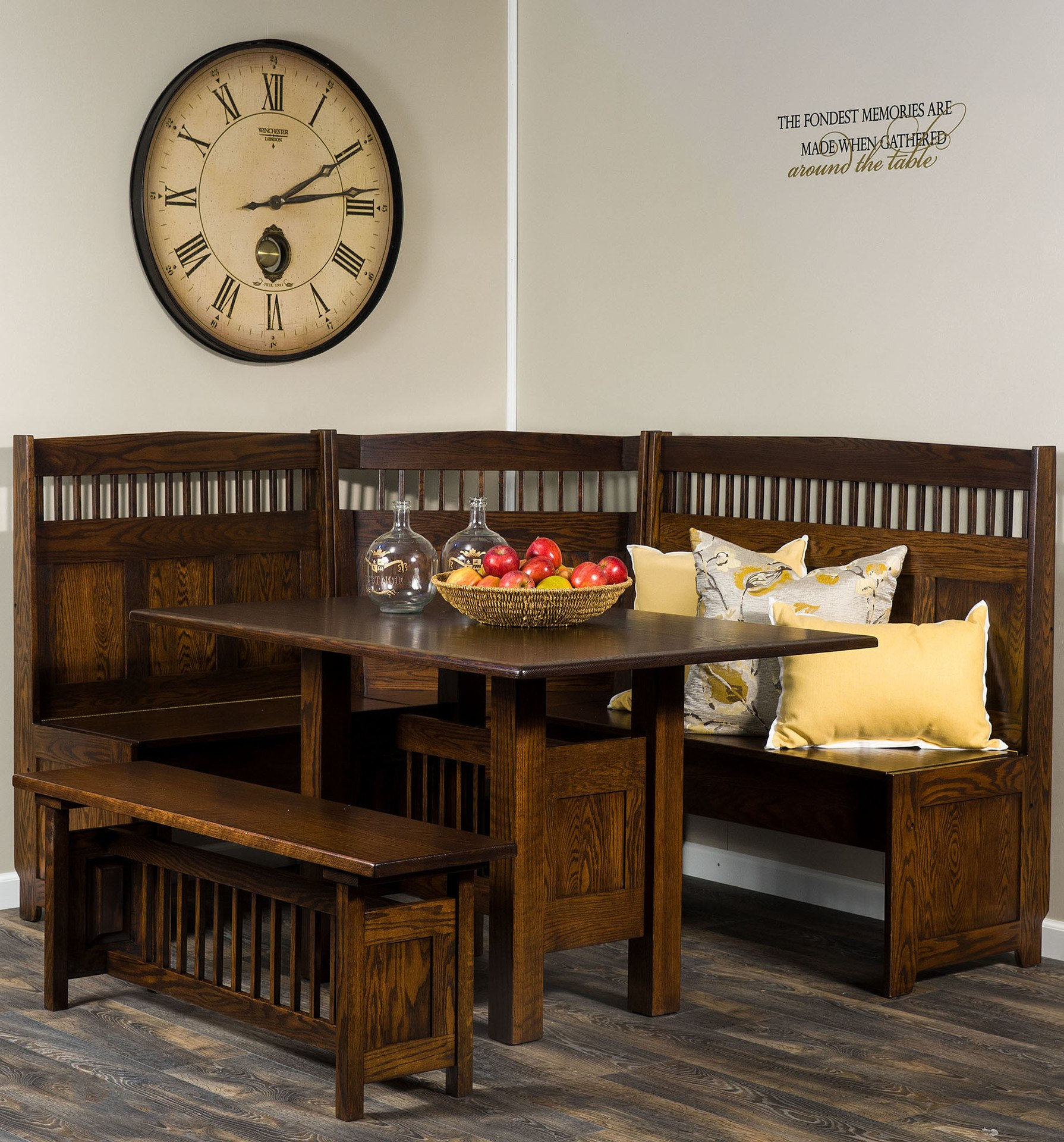 Classic Mission Dining Nook Set With Table And Benches