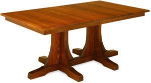 Double Pedestal Mission Dining Table
