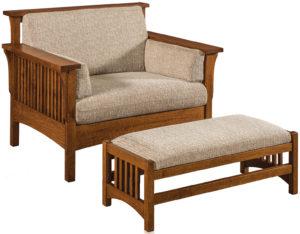 Highback Slat Chair-Footstool