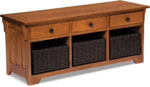 Lattice Weave Wood Drawer Bench
