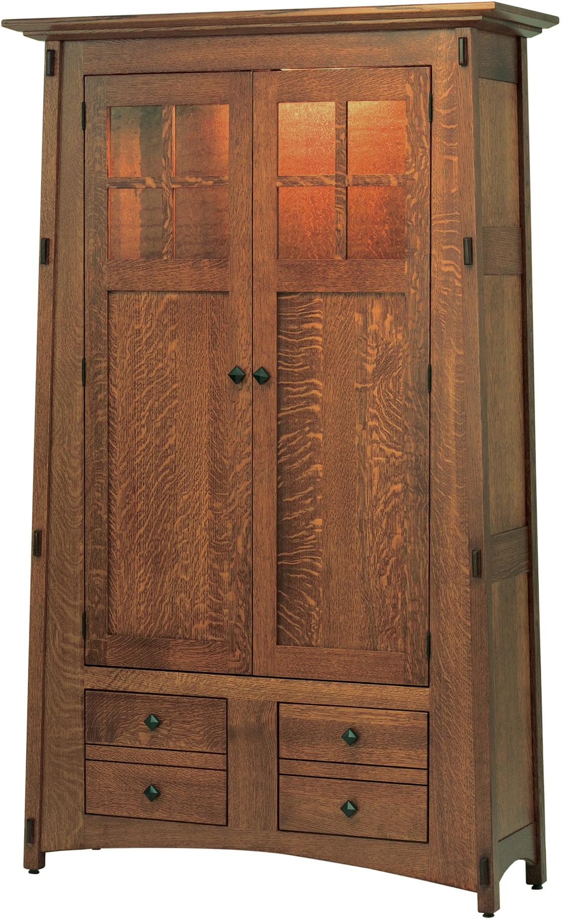 Amish Mccoy Amber Glass Bookcase