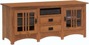 Mission TV Stand with Mullion Doors