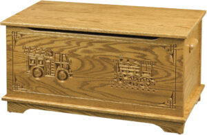 Shaker Style Toy Box -Truck and Train Engraving