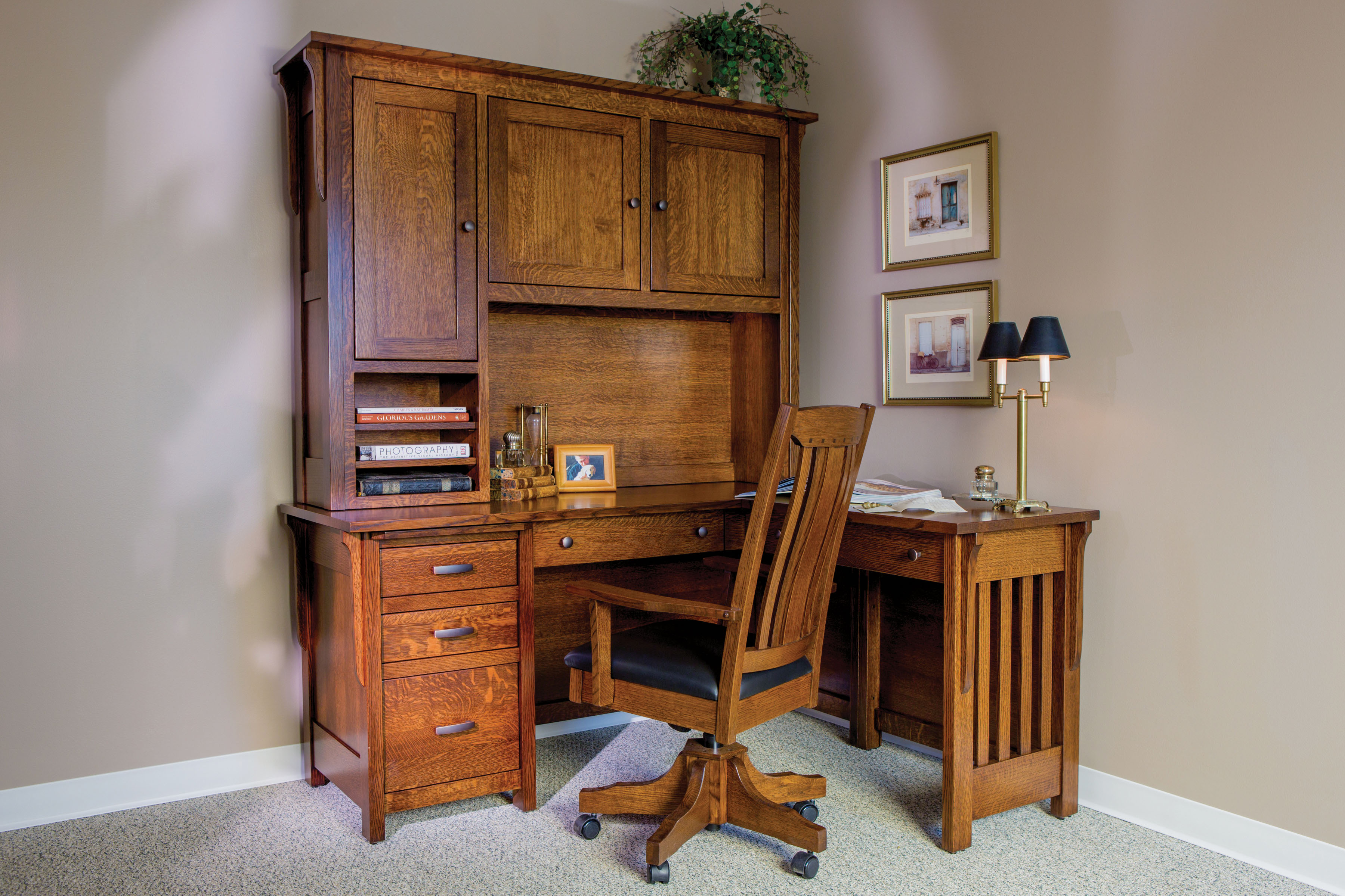 Boston Corner Desk And Hutch Custom Amish Furniture