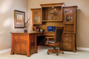 Bridgefort Mission Solid Wood Corner Desk and Hutch