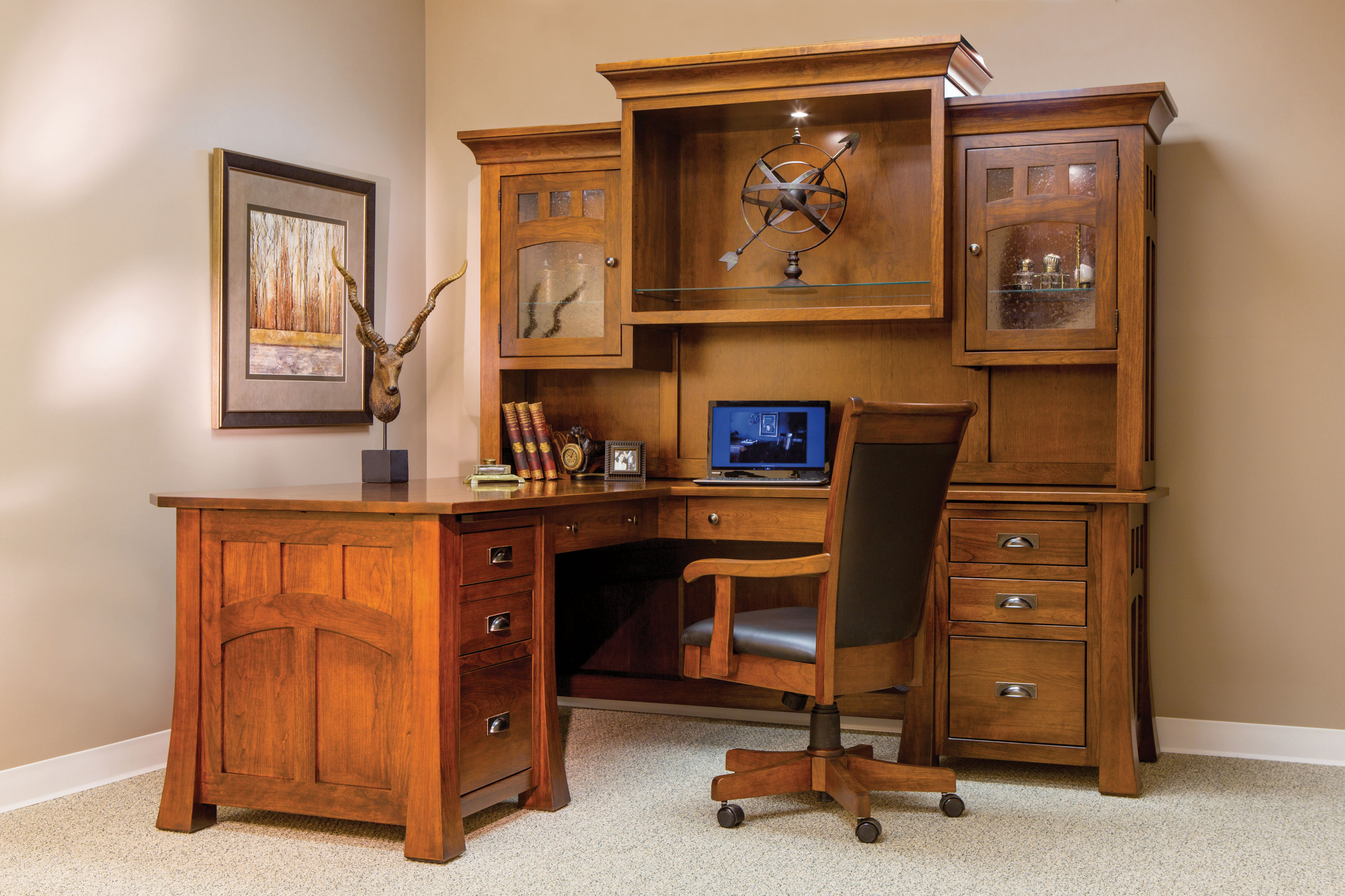official photos 7261b 3121e Bridgefort Mission Solid Wood Corner Desk and Hutch | Amish