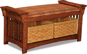 Mission Slat Wood Bench with Baskets