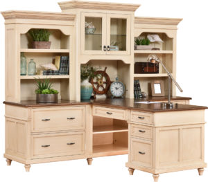 Bridgeport Partner Desk and Three Piece Hutch