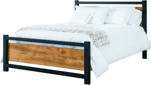 The Modella Hardwood Bed represents the melding of traditional hardwood furniture and modern, tubular metal design.