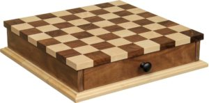 "18"" Maple/Walnut Chess/Checker Board with Drawer"