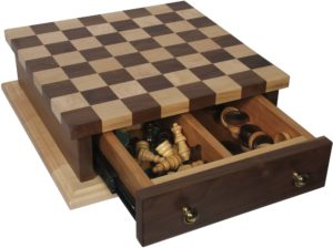 Large Checkerboard with Drawer Including Pieces