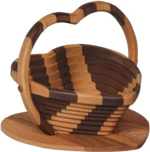 Collapsible Striped Basket with Heart Base