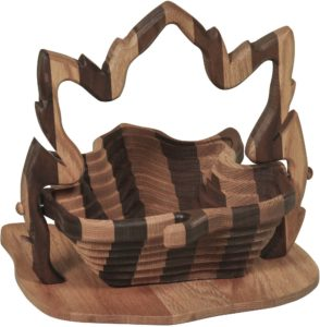 Collapsible Striped Basket with Maple Leaf Base