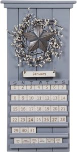Grey Star and Berries Perpetual Calendar
