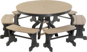 Round Patio Table with Benches