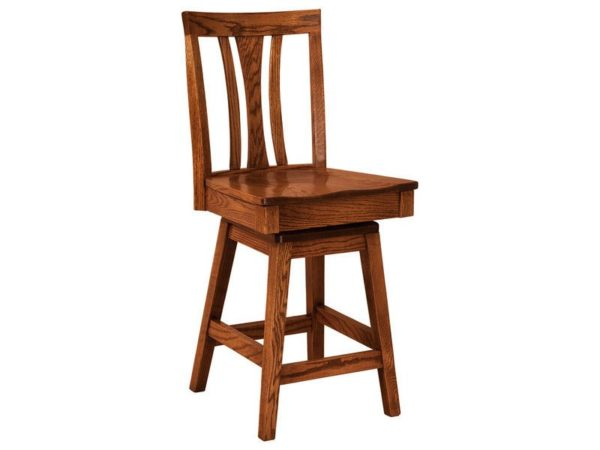 Amish Waldron Hardwood Swivel Bar Stool