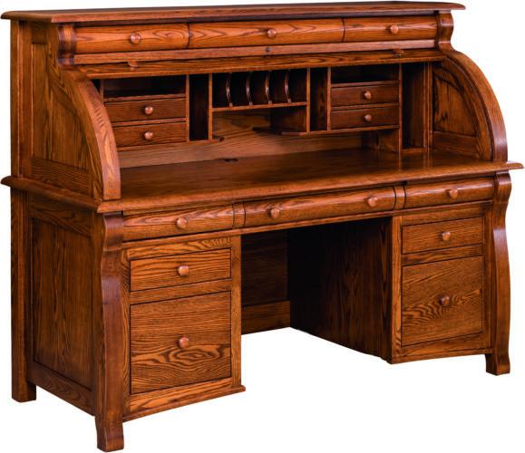 Amish Castlebury Rolltop Desk Open