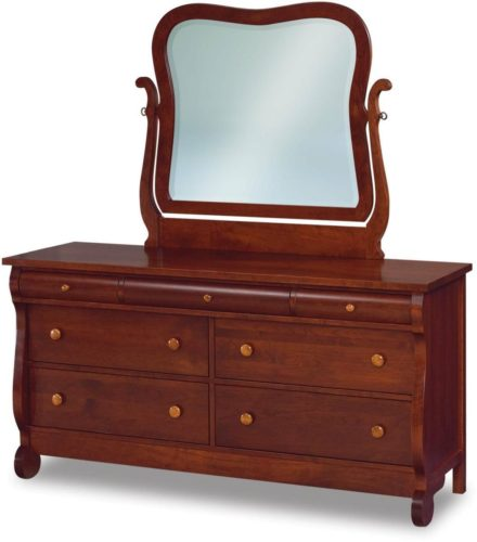 Amish Old Classic Sleigh Dresser with Swinging Mirror