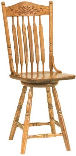 Amish Bent Paddle Post Barstool with Autumn Wheat Back