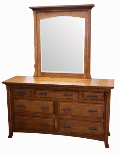Amish Homestead Seven Drawer Dresser with Mirror