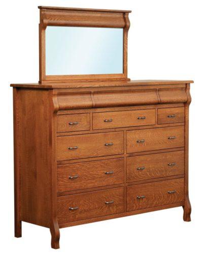 Amish Pierre Twelve Drawer Dresser with Mirror